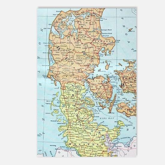 Vintage Map of Denmark (1 Postcards (Package of 8)