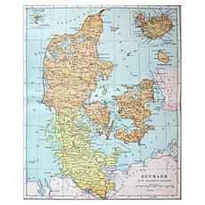 Vintage Map of Denmark (1905)  Poster