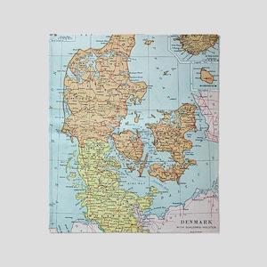 Vintage Map of Denmark (1905)  Throw Blanket