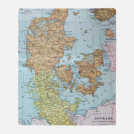 Vintage Map of Denmark (1905)  Throw Blanket
