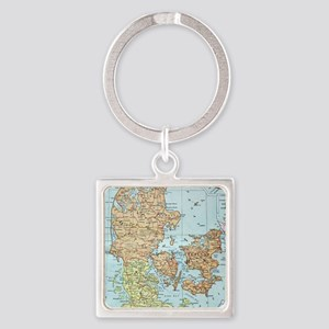 Vintage Map of Denmark (1905)  Square Keychain