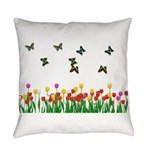 Tulip Garden and Butterflies Everyday Pillow