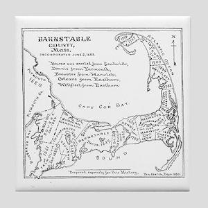 Vintage Map of Cape Cod (1890) Tile Coaster