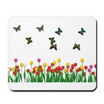 Tulip Garden and Butterflies Mousepad