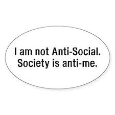 Anti-Social - Oval Sticker