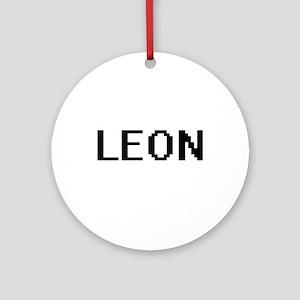 Leon digital retro design Ornament (Round)