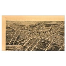 Vintage Pictorial Map of Durham NC (1891) Poster