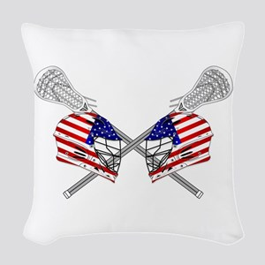 Two Lacrosse Helmets Woven Throw Pillow