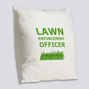 Lawn Officer Green Burlap Throw Pillow