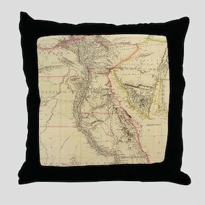 Vintage Map of Egypt (1832)  Throw Pillow