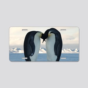 Emperor Penguin Courtship Aluminum License Plate