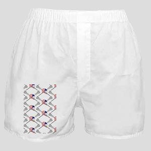 American Flag Lacrosse Helmet Pattern Boxer Shorts