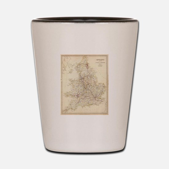Vintage Map of England (1837) Shot Glass