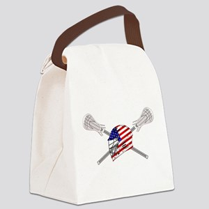 American Flag Lacrosse Helmet Canvas Lunch Bag