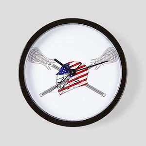 American Flag Lacrosse Helmet Wall Clock