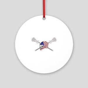 American Flag Lacrosse Helmet Ornament (Round)