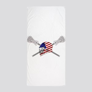 American Flag Lacrosse Helmet Beach Towel