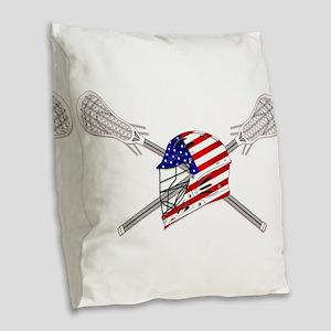 American Flag Lacrosse Helmet Burlap Throw Pillow