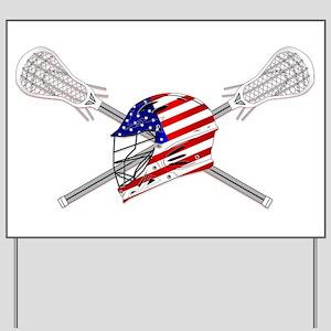 American Flag Lacrosse Helmet Yard Sign