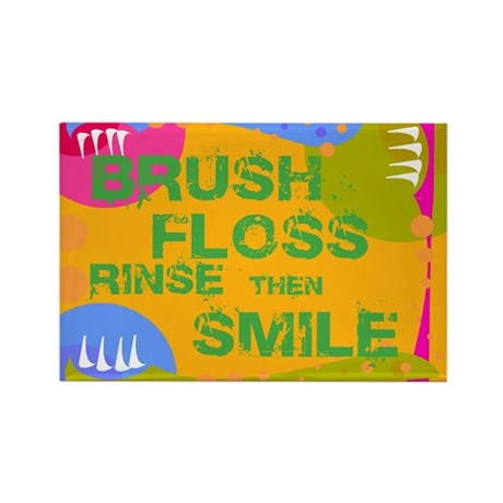 Brush Floss Rinse Smile Rectangle Magnet
