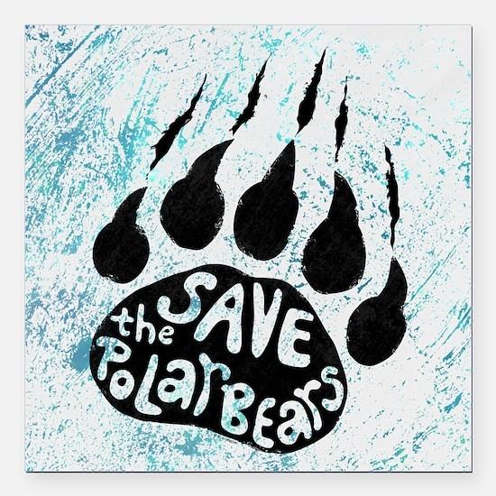 """Save Polar Bears Square Car Magnet 3"""" x 3"""""""