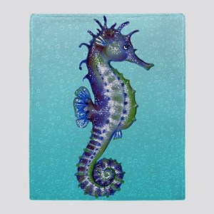 Seahorse Blue Throw Blanket