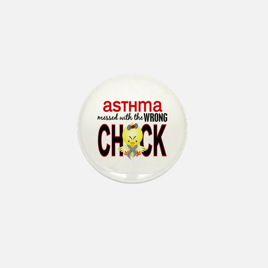 Asthma MessedWithWrongChick1 Mini Button
