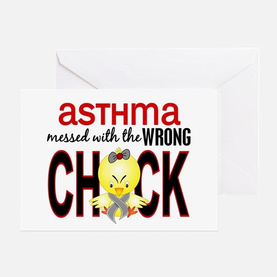 Asthma MessedWithWrongChick1 Greeting Card