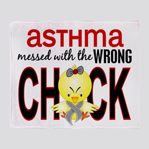 Asthma MessedWithWrongChick1 Throw Blanket