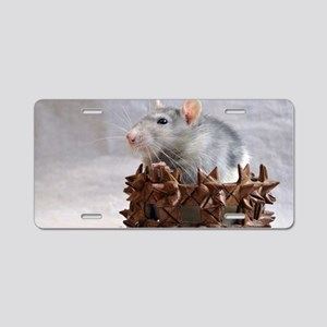 Little Rat in Basket Aluminum License Plate