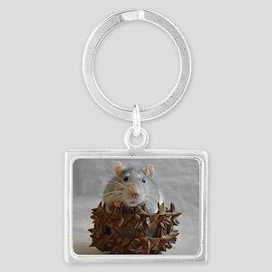 Little Rat in Basket Landscape Keychain