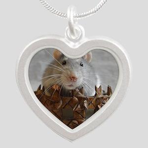 Little Rat in Basket Silver Heart Necklace