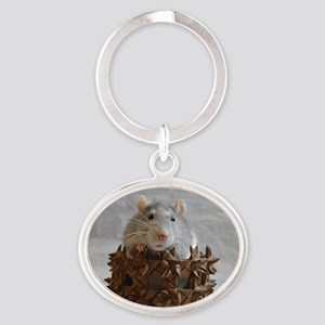 Little Rat in Basket Oval Keychain