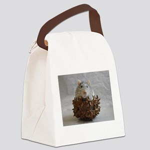 Little Rat in Basket Canvas Lunch Bag