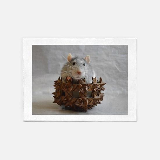 Little Rat in Basket 5'x7'Area Rug
