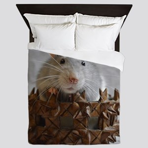 Little Rat in Basket Queen Duvet
