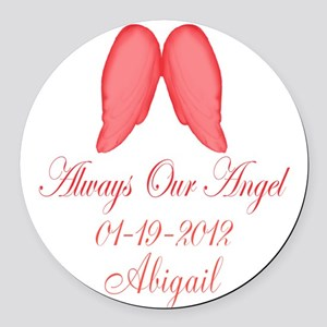 Pink Always Our Angel Round Car Magnet