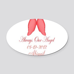 Pink Always Our Angel Oval Car Magnet
