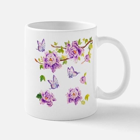 Watercolor Purple Peony and Butterflies Mug