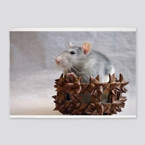 Little Rat in Basket 5'x7'Area Rug
