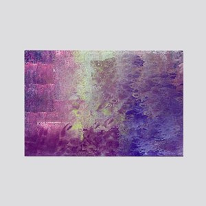 Abstract in Purples and Green Rectangle Magnet