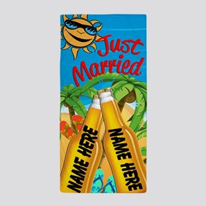 Just Married Beer Beach Towel
