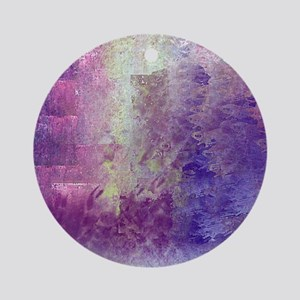 Abstract in Purples and Green Round Ornament
