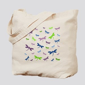 Purple, Green, and Blue Dragonflies Tote Bag