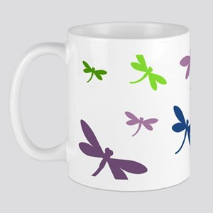 Purple, Green, and Blue Dragonflies Mug