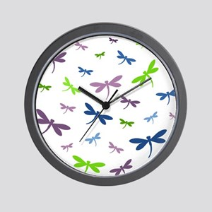 Purple, Green, and Blue Dragonflies Wall Clock