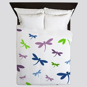 Purple, Green, and Blue Dragonflies Queen Duvet