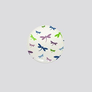 Purple, Green, and Blue Dragonflies Mini Button