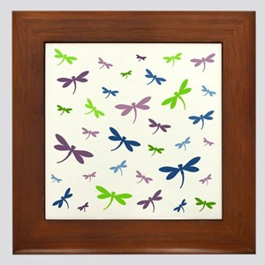 Purple, Green, and Blue Dragonflies Framed Tile