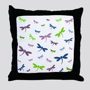 Purple, Green, and Blue Dragonflies Throw Pillow